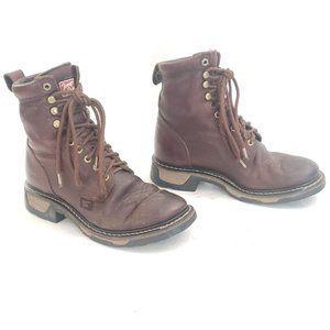 🔨 Tony Lama Leather Waterproof Work Boots Sz 8 D